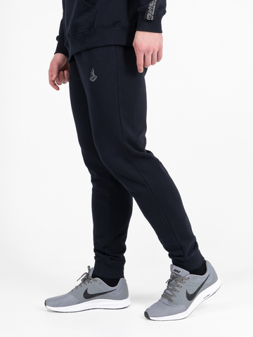 Спортивные штаны  тёмно-синего цвета с манжетами, без лампасов