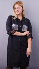 Глем. Нарядное платье-рубашка больших размеров. Черный+серебро.
