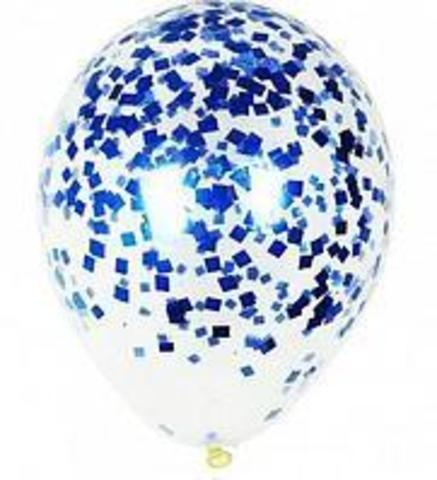 Шар с конфетти синий 32 см