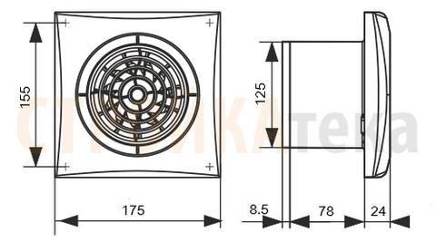 Накладной вентилятор Эра AURA 5C CHAMPAGNE D125 с обратным клапаном