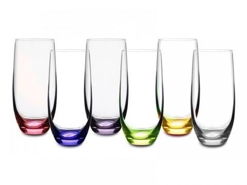 Набор из 6 стаканов цветное дно «Rainbow»