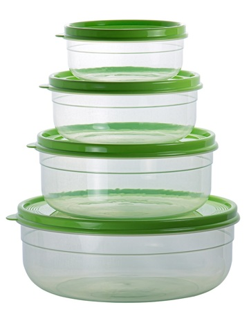 Набор из 4-х круглых контейнеров для еды 0,5 / 1 / 1,7 / 3 л Матрешка №2 Эльфпласт