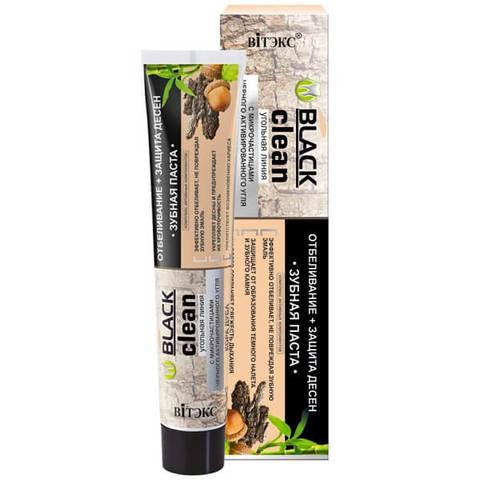 Зубная паста Отбеливание + Защита дёсен с микрочастицами черного активированного угля и корой дуба , 85 гр ( Black Clean Зубные пасты )