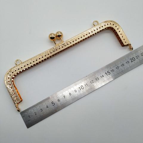 Фермуар (рамочный замок) прямоугольный, 20.5 см, под светлое золото
