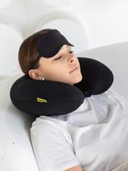 Подушка для шеи, подголовник Gekoko «Черный» + маска для глаз 3
