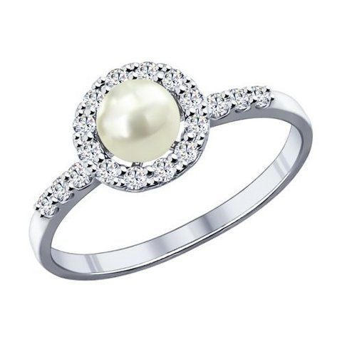 94011808 - Кольцо из серебра с жемчугом и фианитами
