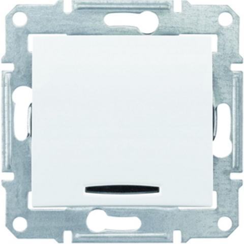 Выключатель одноклавишный с синей подсветкой . Цвет белый. Schneider Electric Sedna. SDN1400121