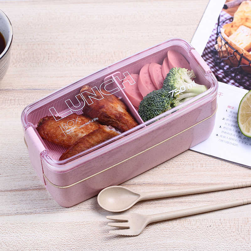 Ланч бокс Delicious Lunch 2 уровня 800 мл. розовый