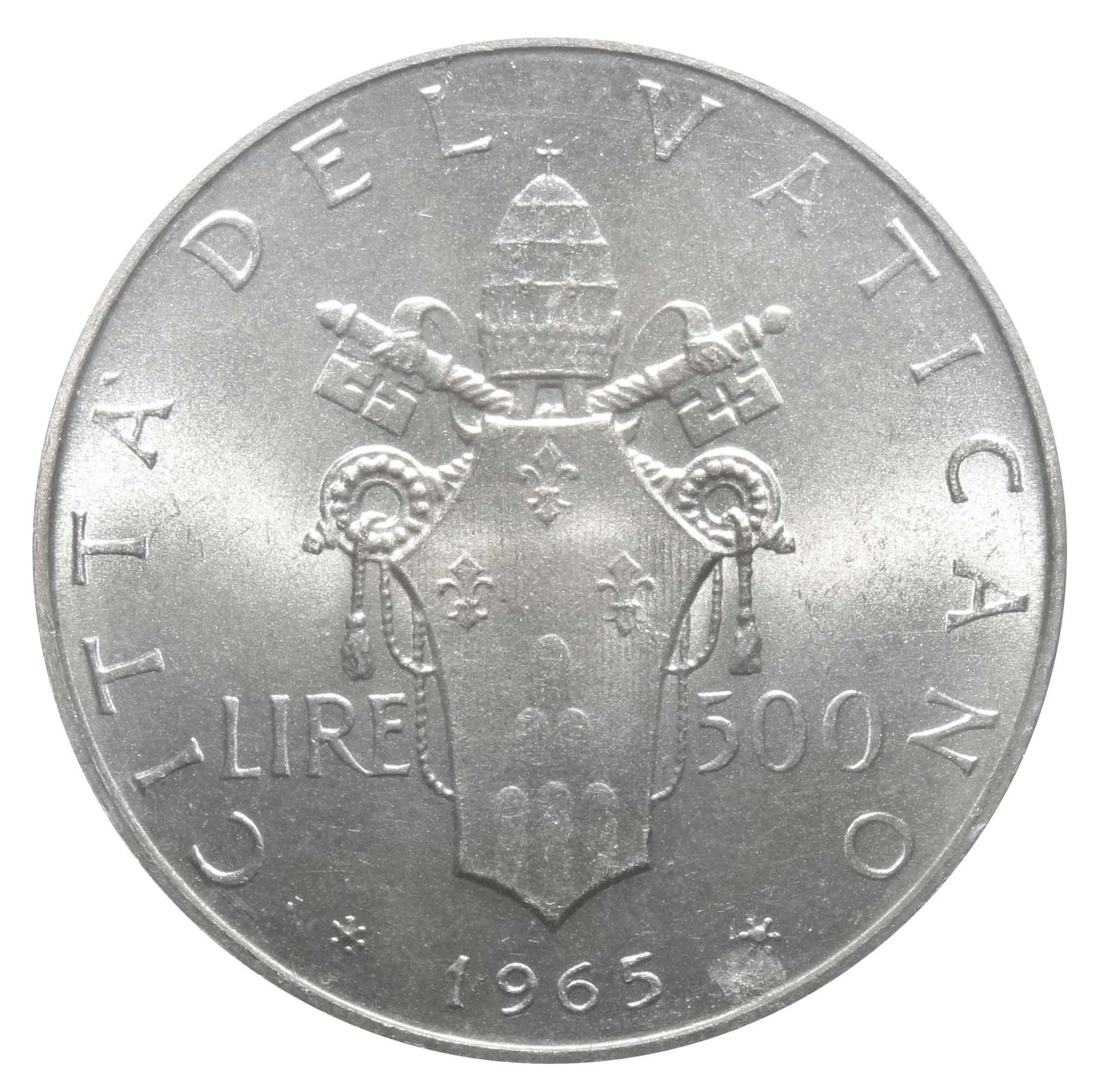 500 лир Ватикан. 1965 год, VF-XF