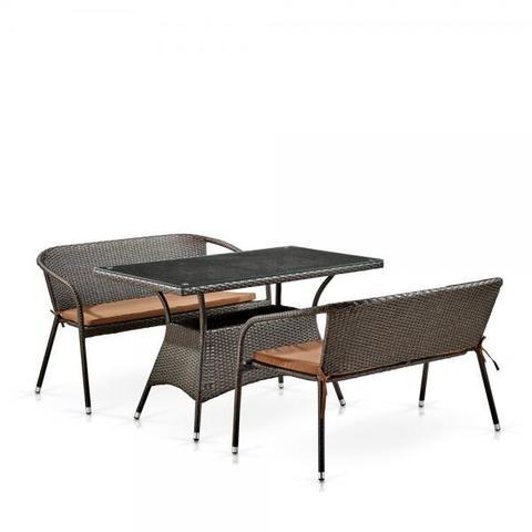 Обеденный комплект плетеной мебели с диванами T198D/S139B-W53 Brown