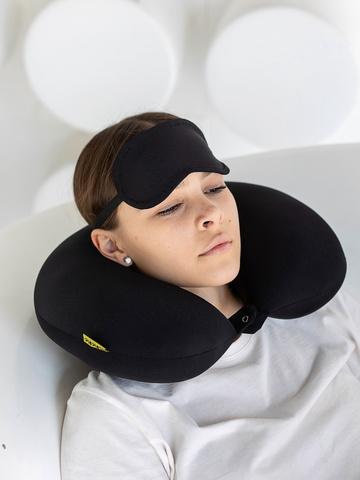 Подушка-подголовник «Черный» + маска для глаз-2