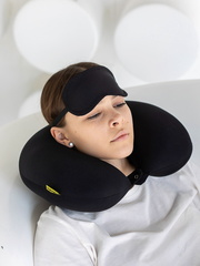 Подушка для шеи, подголовник Gekoko «Черный» + маска для глаз 1