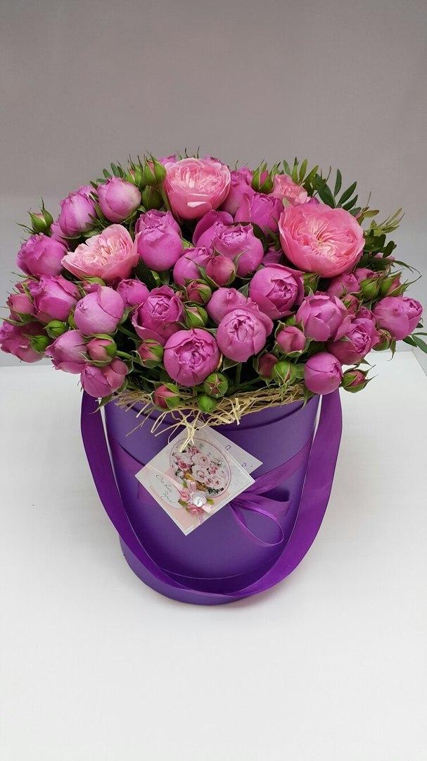 Шляпная коробка D18 см Цвет: фиолетовый  .  Розница 450 рублей .