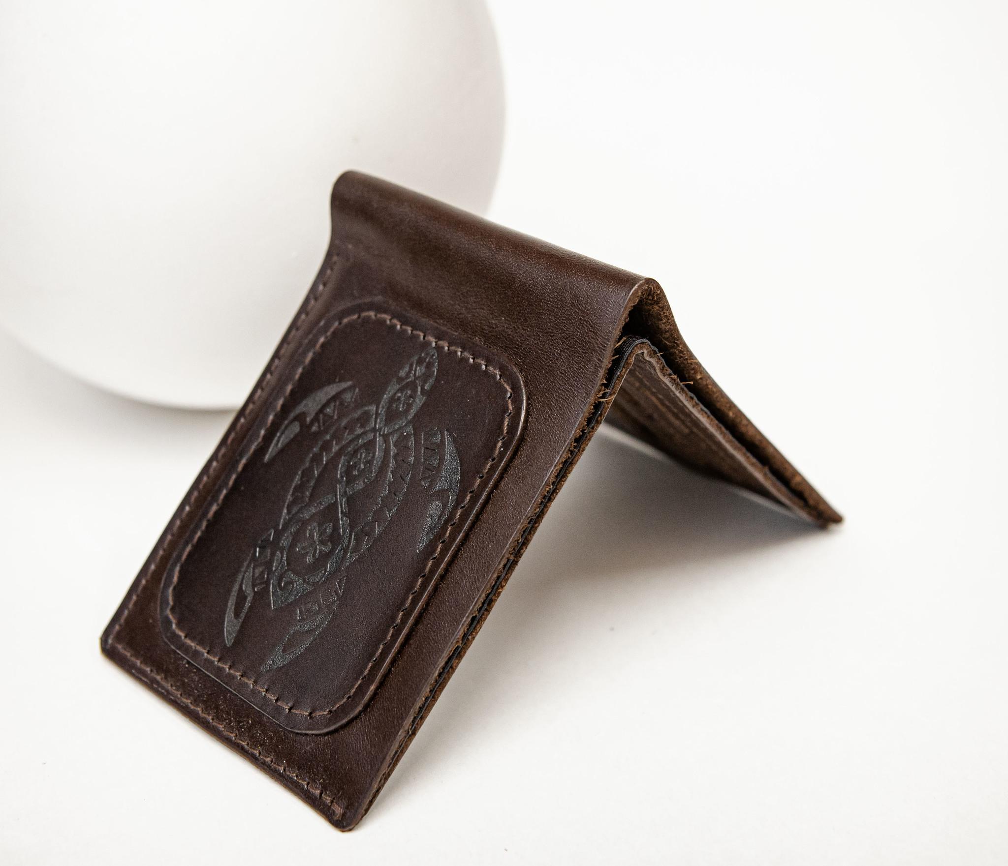 WB159 Мужской кошелек с черепахой в полинезийском стиле, «Boroda Design» фото 06