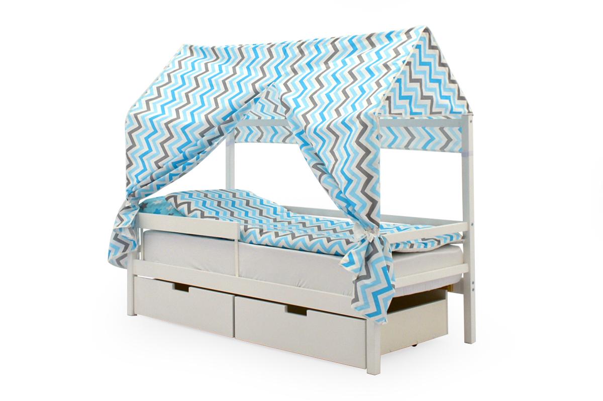 """Крыша текстильная для кровати-домика Svogen """"зигзаги синий, голубой, графит, фон белый"""""""