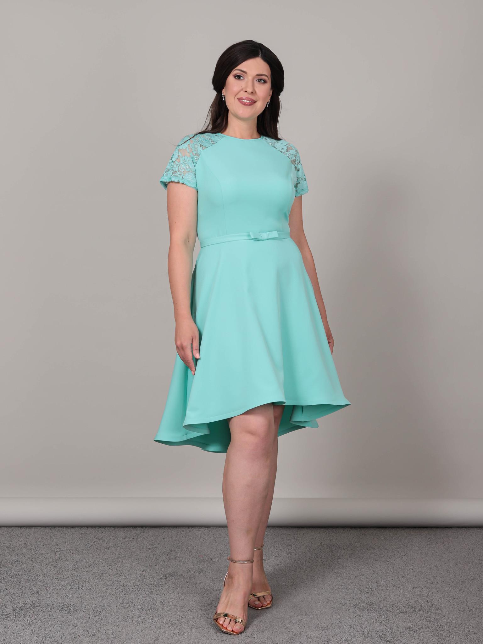 Нарядное платье с кружевной спиной (ментол)