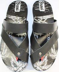 Шлепанцы мужские черные, кожаные Broni Л24-01
