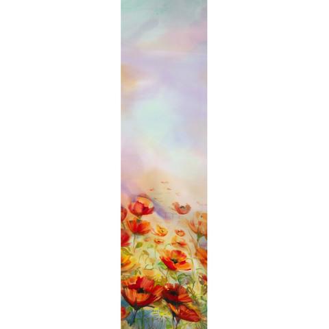 Шелковый шарф батик Маковое поле С-58