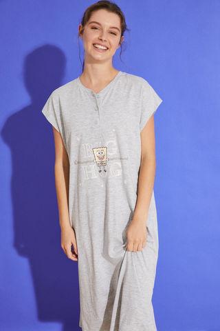 Бавовняна нічна сорочка середньої довжини сірого кольору