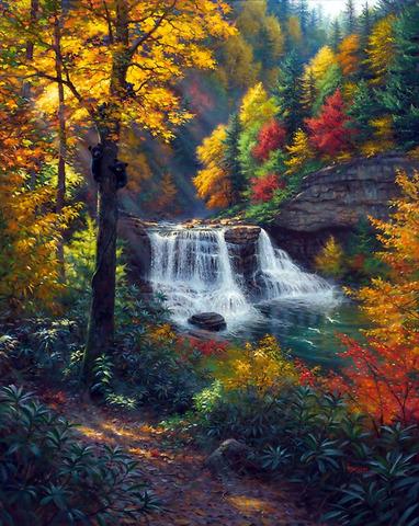 Картина раскраска по номерам 50x65 Водопад в цветном лесу