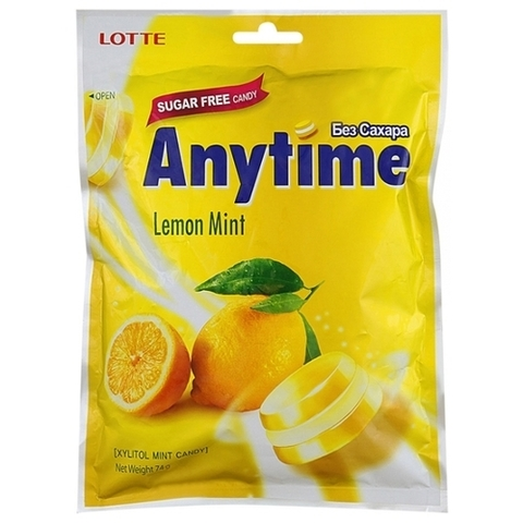 Леденцы Lotte AnyTime Lemon mint 74 гр