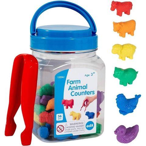 Развивающая игрушка фигурки Животные фермы (счетный материал, 37 элементов) Edx education, арт. 13204J