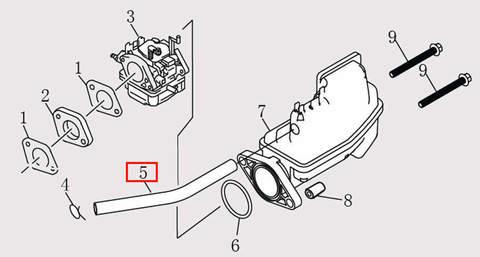 Шланг Φ7*Φ12*280 для лодочного мотора F9.8 Sea-PRO (6-5)