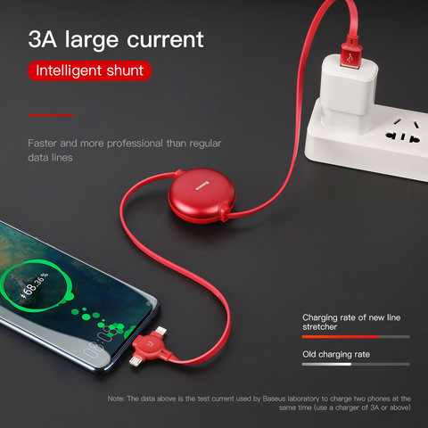 Кабель Baseus Little Octopus 3 in 1 adjustable cable USB For M+L+T 3A 105CM Red
