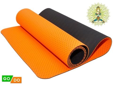 Коврик для йоги и фитнеса TJD-FO066 (Оранжево-черный-Ч+ОРН) 0,6см (Коврик для йоги и фитнеса TJD FO066  0-450x450)
