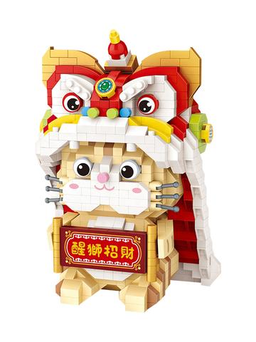 Конструктор LOZ Кошка в новогоднем костюме льва 950 деталей NO. 9258 Cat Lion mini blocks