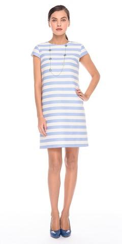 Фото пляжное хлопковое платье а-силуэта с принтом в полоску - Платье З172-577 (1)