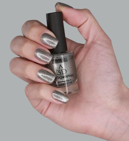 LuxVisage Лак для ногтей 3D HOLOGRAPHIC тон 714 (серебряный овал)11г