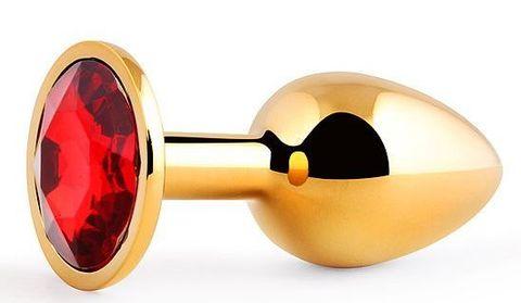 Золотистая анальная пробка с красным стразом - 7,2 см.