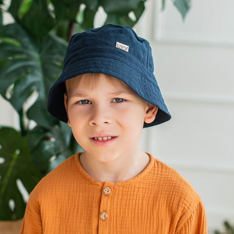 Cotton panama hat - Deep Blue