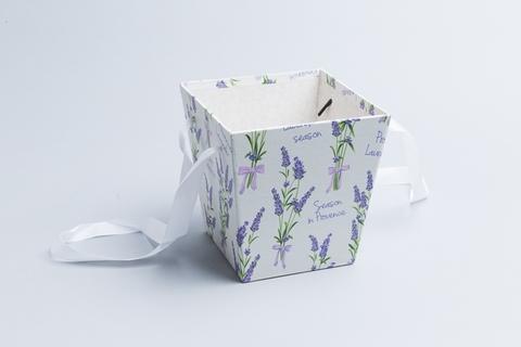 Коробка-трапеция для цветов Лаванда на белом