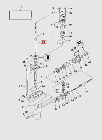 Вертикальный вал S  для лодочного мотора T15, OTH 9,9 SEA-PRO (16-28)