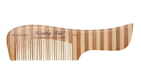 Гребень для волос бамбуковый с ручкой изогнутый