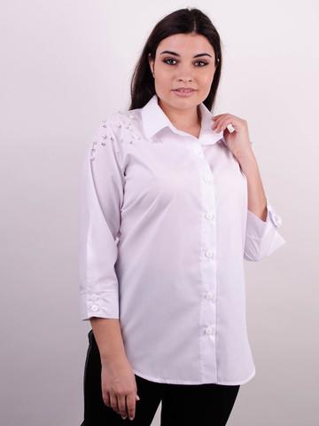 Магда. Рубашка для офиса больших размеров. Белый.