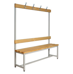 Вешалки для раздевалок со скамьей и крючками (односторонние) 1.5 метра