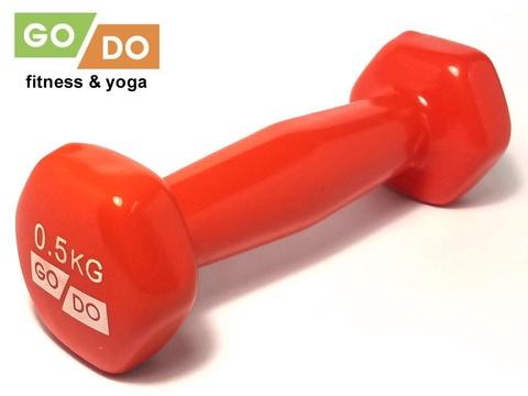 Гантель GO DO в виниловой оболочке. Вес 0,5 кг.  (Красный)
