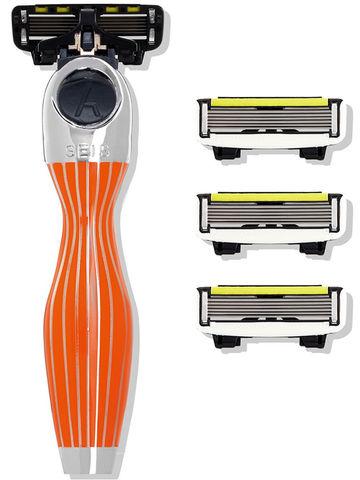 Shave Lab Orange Бритва для женщин Оранжевый/серебро, комплект 6+(с увлажняющей подушечкой) лезвий х 4шт