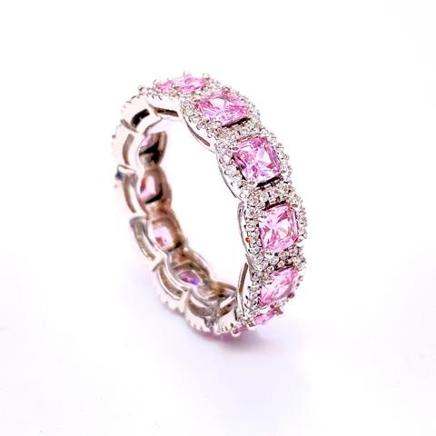 40036 - Кольцо-дорожка  из серебра с розовыми цирконами огранки принцесса