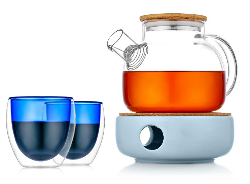 Заварочные стеклянные чайники Заварочный чайник на керамической подставке с подогревом от свечи с цветными стаканами 128G5B23250blue.PNG
