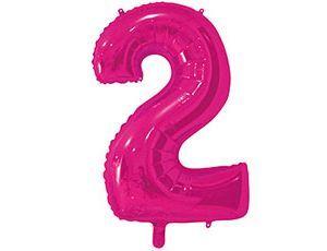 Цифра 2 розовая 65 см