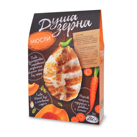 "Мюсли ""Душа зерна"" с морковью и тыквой, без сахара 260 г"
