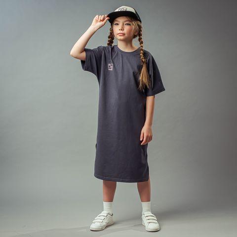 Bb team oversized T-shirt dress for teens - Graphite
