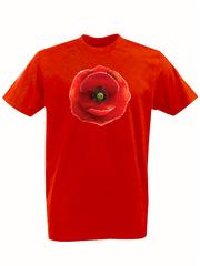 Футболка с принтом Цветы (Маки) красная 001