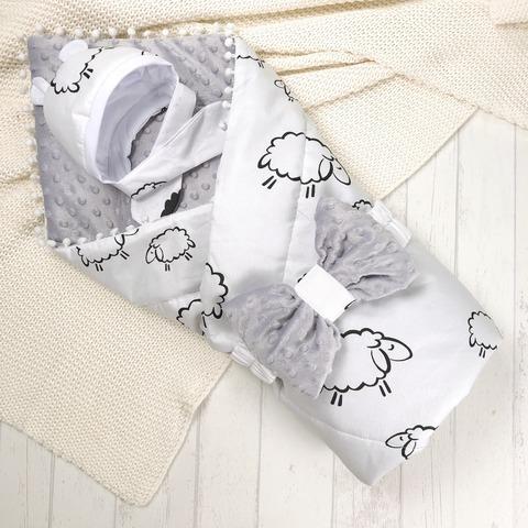 СуперМамкет. Конверт-одеяло с бантом и шапочкой Овечки вид 1