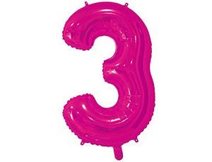 Цифра 3 розовая 65 см