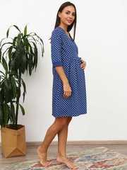 Мамаландия. Комплект для беременных и кормящих с отрезной кокеткой, горох/индиго